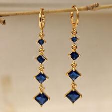 18K Gold Filled- 2.2'' Navy Sapphire Square Topaz Zircon Dangle Gems Earrings DS