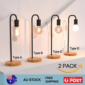 2X Wooden Table Lamp Home Desk Light Bedside Lamps Study Room E27 Black