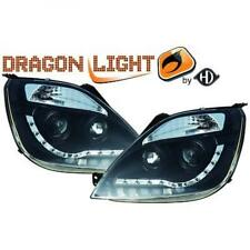 LHD Projector Headlights Pair LED Dragon Clear Black For Ford Fiesta 02-08