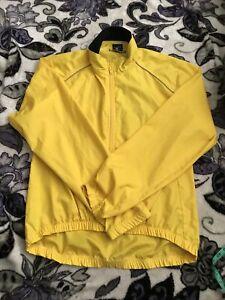 CANARI Cycle Wear Long Sleeve Zip Jacket Reflector Yellow  L no pockets nwots
