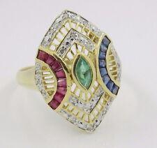 14k Yellow Gold Diamond Emerald Ruby Sapphire Ring
