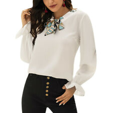 Women Solid Long Sleeve Slim Fit Chiffon T-shirt Ladies Bow Casual Blouse Tops