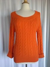 SIZE L - JC PENNY Orange Long Sleeve Pullover Cable Knit Sweater