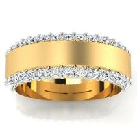 0.90 ct Natural Real Diamond Engagement Mens Ring 14K Yellow Gold Size W R T U