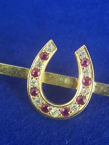 Top Quality 18ct Yellow Gold Diamond & Ruby Lucky Horseshoe Stock Brooch 4.8g