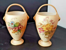 Royal Worcester Blush Ivory vases with lion mask handles Pair