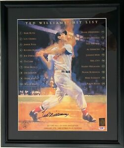 """TED WILLIAMS Boston Red Sox Signed 16X20 FRAMED """"Hit List"""" Photo - PSA LOA"""