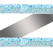 on Your Christening Blue Hearts Stars Holographic Foil 9ft Banner