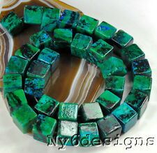 "14x14x14mm Green Natural Chrysocolla Cube Beads 15"" (CH58)g for DIY Jewelry"