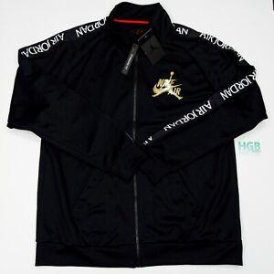 Nike Air Jordan Jumpman Jacket Men's Tricot Warm-up Sport Black White CK2180-011