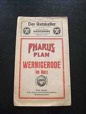 alter PHARUS PLAN Wernigerode im Harz Stadtplan mit Straßenverzeichnis um 1930