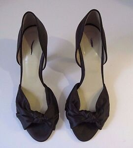 J Crew Hadley Knotted Satin D'Orsay Pumps Brown Dress Heels Shoes Italy Sz.6