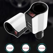 Dual USB Car Charger Cigarette Lighter Socket LED Voltmeter Ammeter Adapter