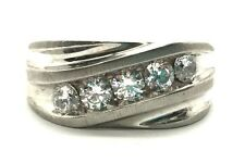 Men's Sterling Silver 925 Diagonal Channel Set CZ Illusion Style Heavy Band Ring