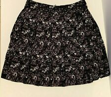 RED- Saks Fifth Avenue- A-line Pleated Skirt- Black Lilac Floral- Knee Length- M
