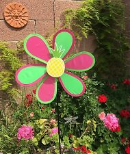 New listing Windmill Green Pink Wind Spinner Colorful Flower Outdoor Garden Decoration New