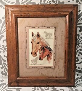 Lovely Horses Hand Made Framed Completed Cross Stitch Needlepoint Expert #347