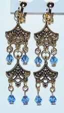 Sparkling Blue Crystal & Tibet Gold Chandelier Clip On Earrings - NEW