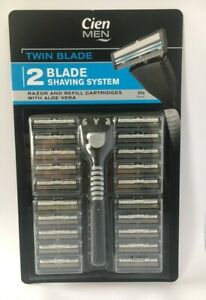 CIEN MEN TWIN BLADE SHAVING SYSTEM RAZOR AND REFILL CARTRIDGES WITH ALOE VERA