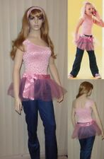 MATERIAL GIRL Dance Costumes PINK LACE Leotard with Tutu and Pants Adult Large