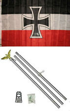 3x5 German Jack Iron Cross Germany Flag Aluminum Pole Kit Set 3'x5'
