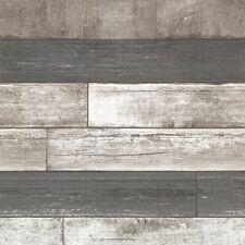 Modern Realistic Barn wood Wallpaper Rustic Grey Tan Taupe Designer Gray FD20198