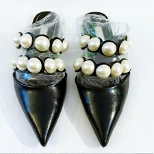 ZARA Basic Black Pearls Mules Sandals Shoes 40 9