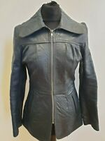 I432 WOMENS VINTAGE BLUE TAILORED 80s LEATHER JACKET UK S 8  EU 36