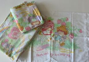 Vintage STRAWBERRY SHORTCAKE Twin Flat/Fitted Sheets Pillow Case Am Greetings