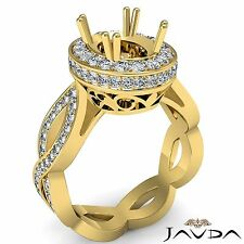 Curve Shank Oval Semi Mount Diamond Engagement Halo 1.3Ct Ring 18k Yellow Gold