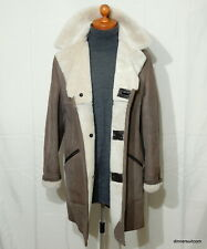 "mens 42"" Sheepskin Coat Soft Suede Shearling Long Jacket Real Wool Lining SUPERB"