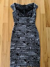ADRIANNA PAPELL Black Lace Tiered Sleeveless Cocktail Dress-Size 6