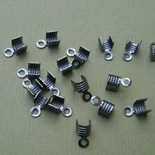 50pcs-Brass Cord Tips Terminator  Chain End Chain Connector Gun Metal  4x7mm.