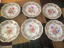 EARLY SCHUMANN BAVARIA Dresden Germany Reticulated Bowl/ Plate Set of Six