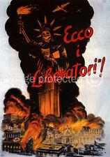 Vintage Italian WW2 Propaganda Poster Ecco I Liberatori 18x24