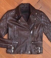 AllSaints Women's Oxblood Brown ARMSTEAD Leather Biker JacketUK 6