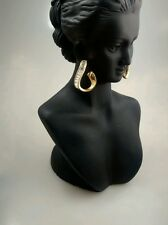 Stunning signed swan swarovski faux diamond gold tone pierce earrings
