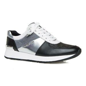 Michael Kors Women's Trainers Size UK 7 EUR 40 Black & Silver Logo Sneakers