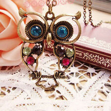 Hot Sale Women Vintage Rhinestone Owl Pendant Long Chain Necklace Jewelry Gifts