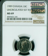 1989 CANADA 10 CENTS NGC MS-69 PQ MAC FINEST GRADE MAC SPOTLESS *