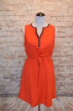 Modcloth Artist Market Dress NWT M Orange Belted woven piping trim multi-color
