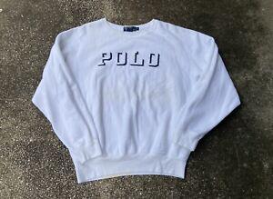 Rare 90s Polo Ralph Lauren 3D Spell Out White Crewneck Sweatshirt Large