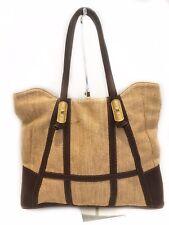 Valentino Garavani Woven Linen & Leather Large Tote Bag Purse Gold Jewel Detail