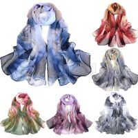 New Fashion Women's Floral Chiffon Soft Neck Scarf Shawl Scarves Long Stole Wrap