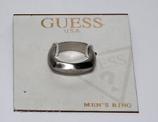 GUESS SIGNED SILVER TONE UNISEX  BAND RING JEWELRY NWT Sz 10 CARD #3717-0294/44
