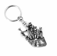 Scottish Bagpipes Keyring (keychain), in fine English Pewter, Handmade (hin)