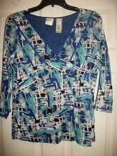 EMMA JAMES V-NECK GEOMETRIC PRINT 3/4 SLEEVE SHEER LINED BLOUSE/TOP SIZE LARGE