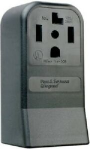 Pass & Seymour 30A, 125/250V, Black, 3P 4W Grounding, Surface Mount Dryer Outlet