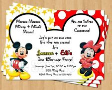 10 Minnie Mickey Mouse Twins Birthday Party Invitations Personalized Red Yellow