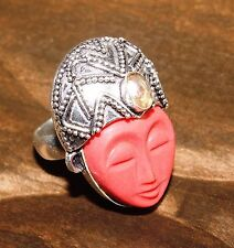 Handcrafted CARVED FACE AGATE SILVER RING SIZE 7 Gift